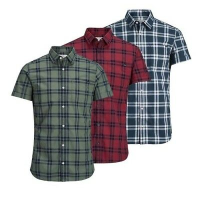 Jack & Jones Fischer Uomo Camicia a Quadri con Colletto