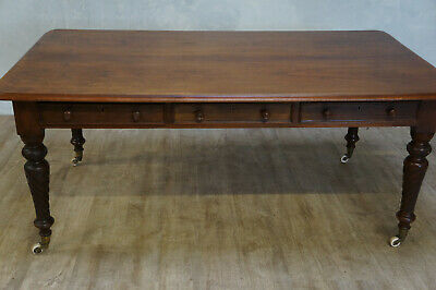 Antique Large English Walnut Library Table