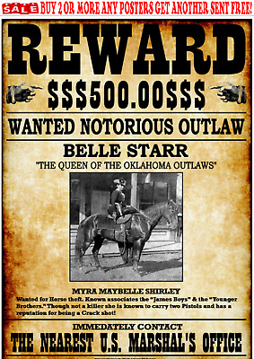 Old West Wanted Poster Belle Star Outlaw Western Bandit Reward