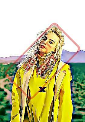 BILLIE EILISH POSTER PRINT CARTOON ART - VARIOUS SIZES A6/A5/A4/A3/A2/A1 cd