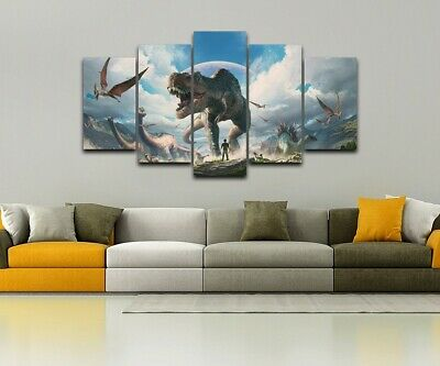 Jurassic Dinosaurs T-Rex 5 Pieces canvas Wall Art Print Picture Home Decor