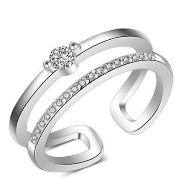 Women Chic Hollowed Opening Double Lines Shiny Crystal Rhinestone Rings IT