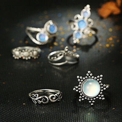 Women Ladies Fashion Opal Flower Knuckle Ring Set  Exquisite Jewelry Gifts IT