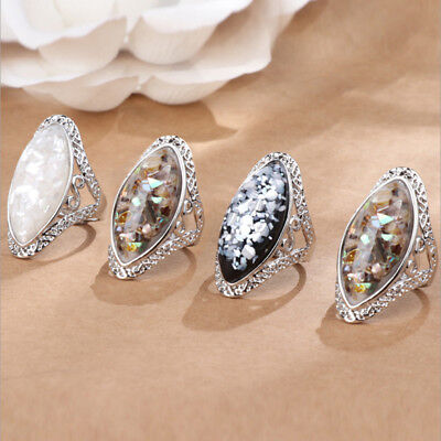 Men Women Chic Abalone Seashell Carved Rings Couple Lover Ring Jewelry Gift IT