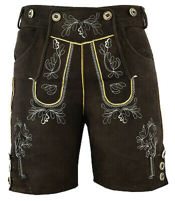 German Mens Ziegen Goat Leather Shorts Oktoberfest Lederhosen+Suspenders 46-60