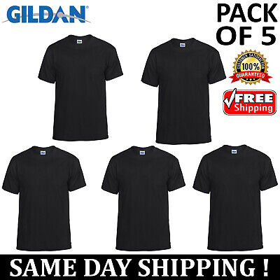 PACK OF 5 Gildan Plain Mens Black T Shirt S to XL Blank 5.5 oz 50/50 T-Shirt Tee
