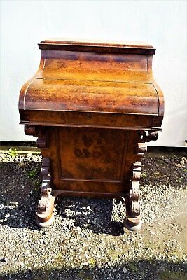 Antique Burr Walnut Pop Up Davenport Desk c.1860