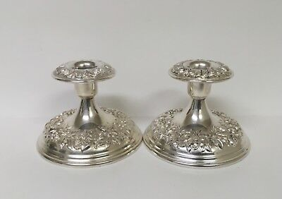 """Kirk Repousse Sterling Silver 3 1/2""""  Candle Holders x 2"""