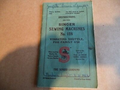 Vintage Singer Sewing-Singer  128 Manual
