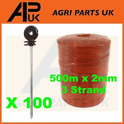 500m x 2mm 3 Strand Electric Fence Poly wire + 100 Long Distance Ring Insulators