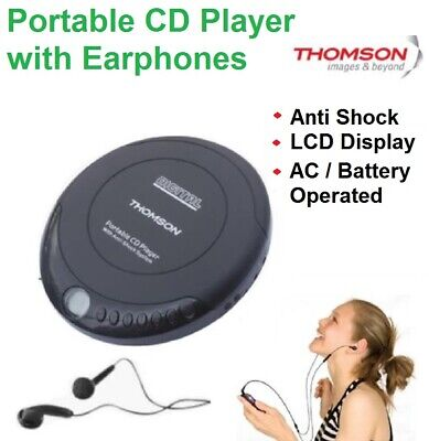 CD Disc Music Player Portable with Earphones LCD Display Compact AC Battery NEW