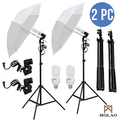 "2x 33"" Photo Studio Photography Umbrella Reflector Lamp Stand Lighting Kit White"