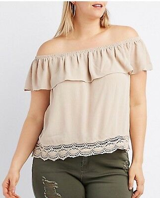 59ae92a2420 Charlotte Russe Womens Beige Off The Shoulder Blouse Lace Detail Plus Sz 3X  NWT