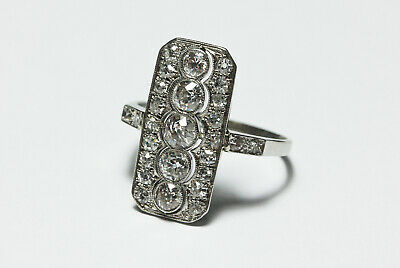18ct white gold Art Deco Diamond panel cluster ring 1.5 ct C.1920's size: P 1/2