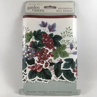 WAVERLY WALLPAPER BORDER Garden Grapes Fruit Die Cut Bottom PLEASANT VALLEY 15ft