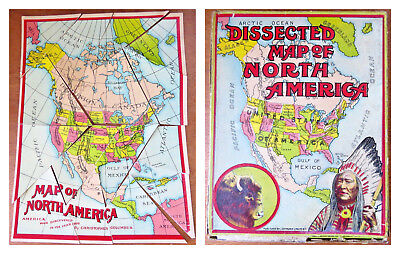Color Map Of North America.1890 South America Antique Color Map Collectible In Sleeve Ready To