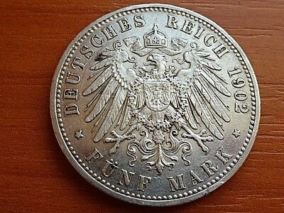 Germany Empire - Prussia Silver 5 Mark 1902 A Wilhelm II 1888-1918 Rare Coin