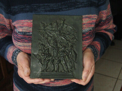 21cm - BRONZE  PLAQUE BY E.E. 19 th PARIS DEPARTURE OF THE VOLUNTEERS OF 1792