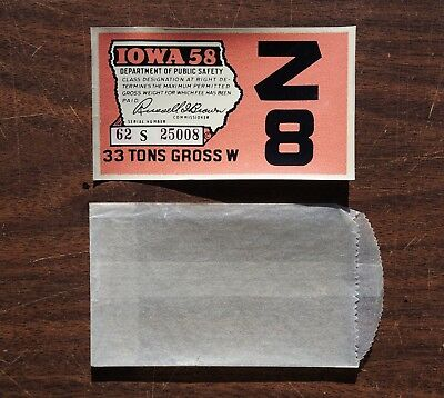 1958 Iowa Windshield License Validation Decal Sticker - Plate Tags