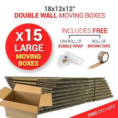 15 x LARGE STRONG MOVING BOXES Double Wall Cardboard Boxes Removal Packing BOX