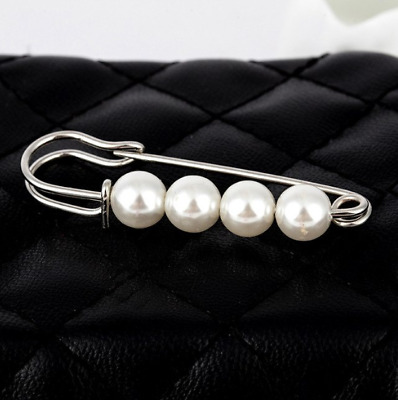BROOCH Silver with White Pearls Bead Retro Luxury NEW