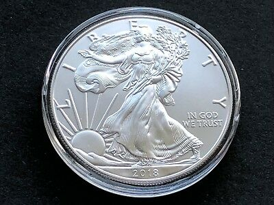 2018 Silver American Eagle 1 oz Gem BU in Capsule ASE 518