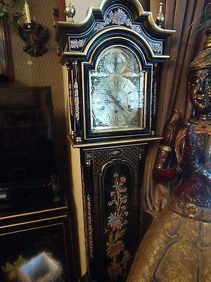 Chinese Black Lacquer Grand Daughter Clock Long Case, Grandfather Clock Chime