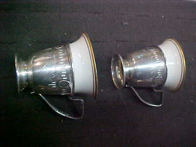 Vintage - 2 SterlingPorcelain Coffe Cups Small