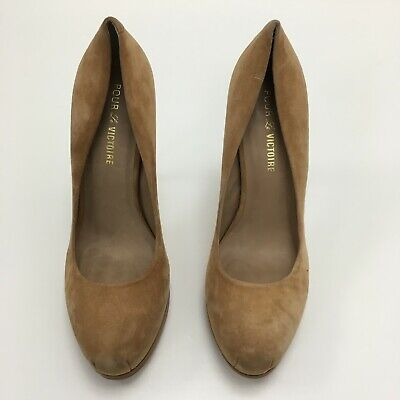 9b6f8479aea POUR LA VICTOIRE Tan Classic Court Shoes Platform Ladies UK8 US10 47909