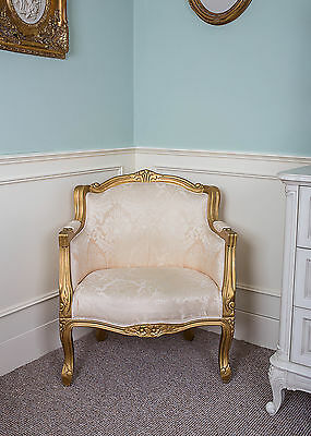 French Tub Louis Armchair Gold Damask Shabby Chic Bed Room Antique Style Bedroom