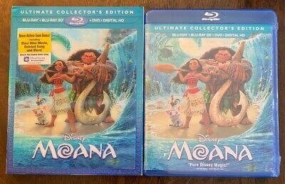 Disney Moana (3D/Blu-ray/DVD/Digital Copy) Comes With Lenticular Slipcover NEW
