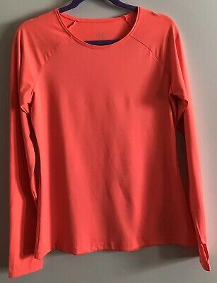 73e711a1c9be1 Sweaty Betty Pullover Long Sleeve Crew Neck Top Neon Orange Thumb Holes  Size L