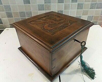 ANTIQUE LATE 19thC WALNUT BOX WITH HAND CARVED WELSH DRAGON ON LID - LOCK & KEY