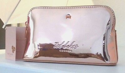 9b51f85ce NWT Ted Baker London Lindsay Mirrored Make-Up Cosmetics Wash Bag Rose Gold