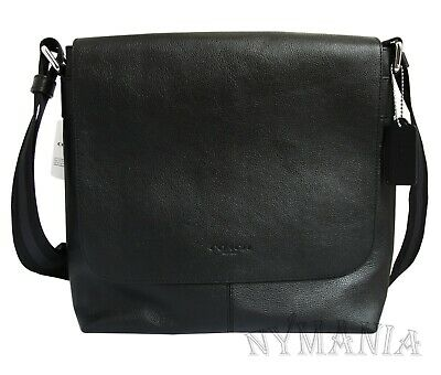 33af303d31 NEW COACH F28576 Men s Charles Small Messenger Leather Bag Black Crossbody  NWT -  103.90