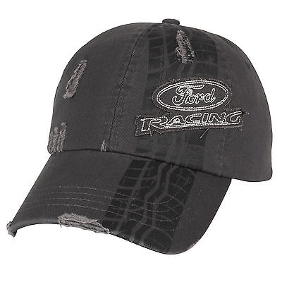 Rare! Brand New Charcoal Distressed Ford Racing Tire Tread Hat/cap! Nascar Nhra