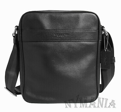 a865a9b530f4a New COACH F54782 Men s Charles Flight Bag Crossbody Black Smooth Leather  295 NWT