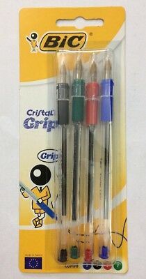 Bic Cristal Grip Pack Of 4 Assorted Colours 1.0mm (Blue, Black, Red And Green)