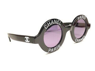 16c49122ddc Vintage Rare Chanel 1990 s Runway Round Black White Letters Frame Made In  Italy