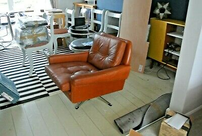 Pleasant Mid Century Modern Danish Tanned Leather Swivel Chair Caraccident5 Cool Chair Designs And Ideas Caraccident5Info
