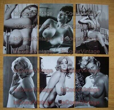 6 Pin-Up Topless Pictures - 6 Photo Reprints - Set #2