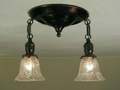 RARE! Antique Late 1800's Japanned Light Fixture - Professionally Restored