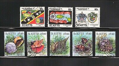 St Kitts -- 2 used commemorative complete sets from 1993 &1996 -- cv $12.30
