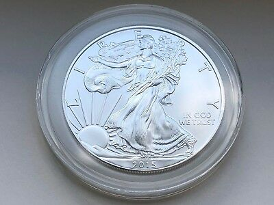 2015 American Silver Eagle 1 oz BU Coin in Caspule