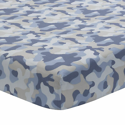 Lambs & Ivy Blue Camo Gray 100% Cotton Baby Fitted Crib Sheet - Camouflage