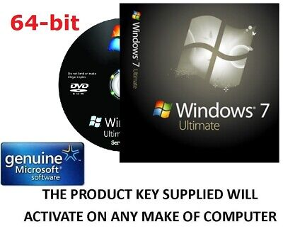 Windows 7 Ultimate 64 bit DVD SP1 Full Version & COA License Product Key GENUINE
