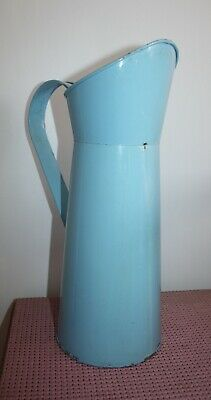 Large Genuine Vintage Blue Metal Milk Jug