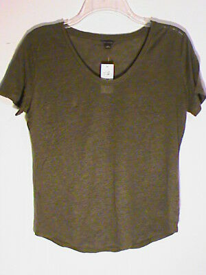 a341c2cb0e NWT SHIRIN GUILD S M Boxy Olive Green 100% Linen Exquisite Shirt Top ...