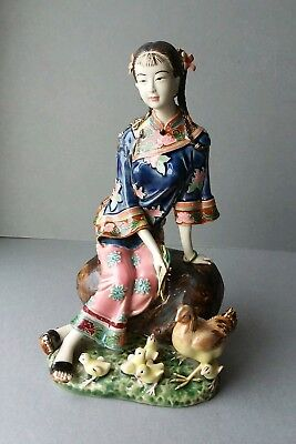 Chinese Pottery Woman Figurine Signed.