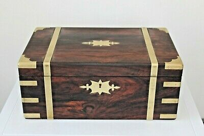 Early Victorian Rosewood brass bound writing slope box